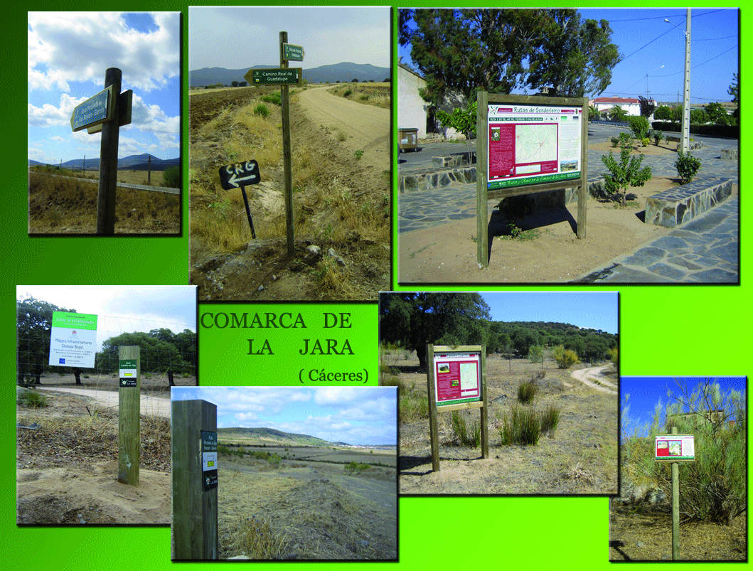 Señalización rutas en Comarca de la Jara (Cáceres)
